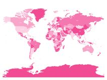 World map in four shades of pink on white background. High detail political map with country names. Vector illustration Stock Photo