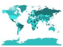 World map in four shades of turquoise on white background. High detail blank political map. Vector illustration with. Labeled compound path of each country Stock Photos