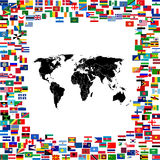 World map framed with world flags Stock Photos