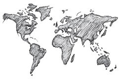 World map, freehand pencil, vector, illustration, pattern. Stock Photography