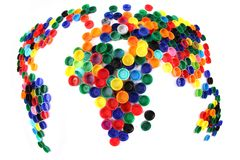 Free World Map From Plastic Caps Stock Images - 25208474