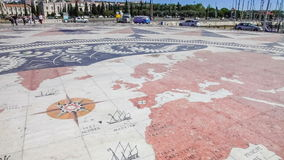 World map at the front of the Padrao dos Descobrimentos, Lisbon. Lisbon, Portugal. August 31, 2014: Detail of the world map at the front of the Padrao dos stock footage