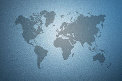 World map on frosted glass texture as background. World map on blue frosted glass texture as background vector illustration