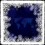 World map on frozen window Stock Image