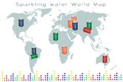 World Map of Fruits Drink and Sweet Beverage Royalty Free Stock Photos