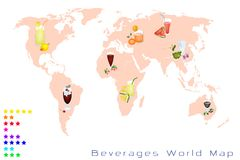 World Map of Fruits Drink and Sweet Beverage Stock Image