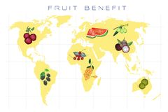 World Map with Fruits Production and Consumption Stock Image