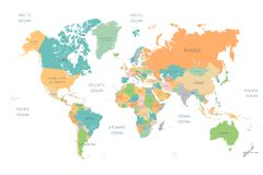 World Map Full Color High Detail Separated all countries vector illustration