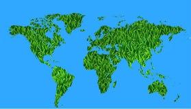 World map full of grass Stock Photo
