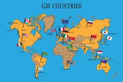 World map of the G20 countries with flags stock illustration