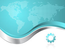 World Map with Gear Logo Business Background Stock Image