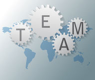 World map with gears and team text Royalty Free Stock Photo