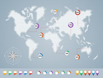 World map, geo infographics template EPS10 file. stock images