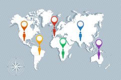 World map, geo pointers and men figures EPS10 vector file. Royalty Free Stock Image