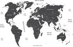 World map with geographical objects names Stock Photography