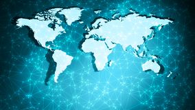 World map geometric shapes background abstract connection dots and wires. Connected dots with lines and graphic world map, creative abstract background. Global royalty free stock image