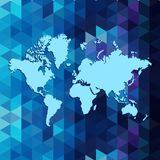 World map on geometric triangle pattern design, Royalty Free Stock Photography