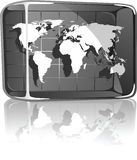 World Map in Glass Box. Illustration of World Map in Glass Box Royalty Free Stock Photos