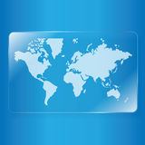 World map on glass plate Stock Photos
