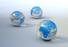 World map on glass spheres Stock Images