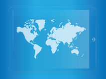 World map on glass tablet Royalty Free Stock Photography