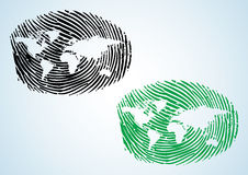 World Map - Global Citizen. A thumbprint with world map on it Stock Photo