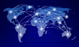 World map with global network communication Stock Image