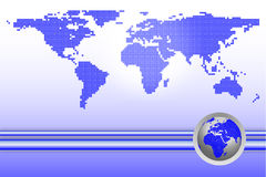World map with globe Stock Image