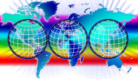 World map or globe. An image for the concept of secure wireless global business technology showing a world map or globe with sea area in a rainbow color or Stock Image