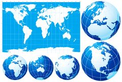 World map and globe. Vector set of blue World map and five kinds of globe royalty free illustration