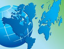 World map and globe  Royalty Free Stock Photo