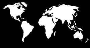 World map or globe. With sea area in black and land in white Royalty Free Stock Photography