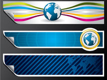 World map and globe banners Stock Photos