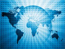 World map and globe with blue light, illustration Royalty Free Stock Photo
