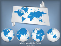 World Map and Globe Detail. Royalty Free Stock Photography
