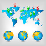 World map. Globe. World map. Globe Earth Planet. Vector Illustration Stock Photo