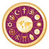 World Map, Globe of Faith, Magenta. Religions around the world. Clockwise: Judaism, Sikhism, Islam, Christianity, Hinduism, Taoism, Baha'i, Buddhism; Jainism Stock Photos