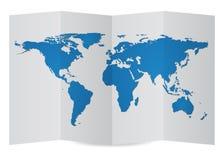 World Map Globe on Folder Paper, Vector Illustration Stock Photo