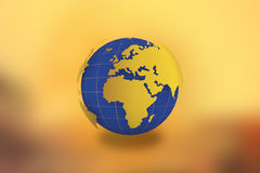 World Map Globe in golden background -21 JULY 2017. World Map Globe in golden background-21 JULY 2017. View of globe from space. Earth planet with ocean and Royalty Free Stock Photos
