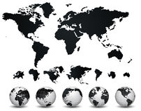 World Map and globe Stock Photo