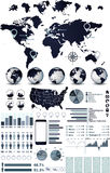 World Map and globe infographics Stock Photo