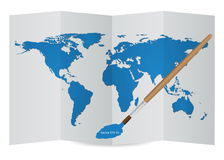 World Map Globe on the Paper from Drawing by Paint Brush Stock Image