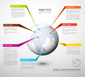 World map globe with pointer marks Stock Images