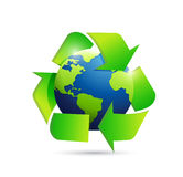 World map globe recycle symbol illustration Royalty Free Stock Photo