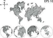 World Map Globe Vector line Sketch Up Illustrator. Stock Photo
