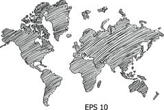 World Map Globe Vector line Sketch Up Illustrator. EPS 10 vector illustration