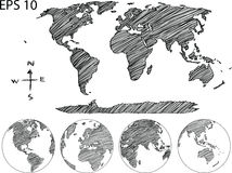 World Map Globe Vector line Sketch Up Illustrator. Royalty Free Stock Photography