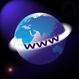 World map or globe with www ring around. Map or globe with coloured land area and a flare background showing the European and African sections on one globe with Royalty Free Stock Images