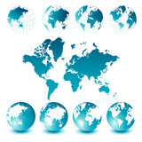 World map and globes Royalty Free Stock Photography