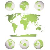 World map and globes Stock Photo